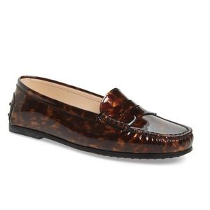 NWT Tod's New City Gommini Loafer Tortoise Patent Leather Brown 38.5